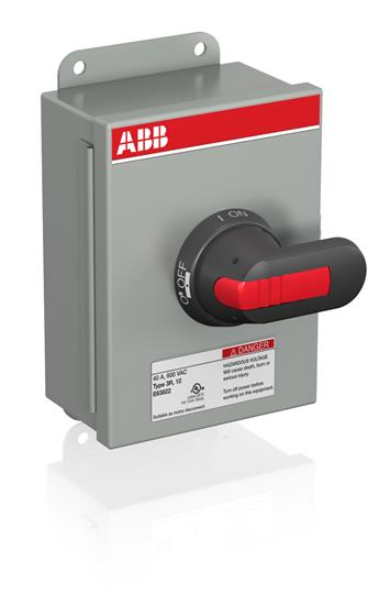 ABB,EOT16U3M3-P,ABB EOT Non-Fusible Enclosed Disconnect Switch, 600 VAC, 10 hp, 16 A, 3 Poles